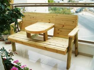 ספסל זוגי משולב עם שולחן
