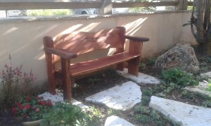 ספסל מעץ גזום טבעי – אקליפטוס אדום